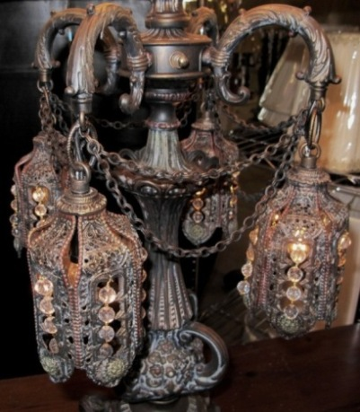 Antique Victorian lamp with gothic Moroccan design, antique table lamps - Antique Lamps