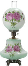 Hurricane lamp hand painted green tint with fushia roses