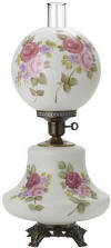 Hurricane lamp white satin hand painted burgundy pink roses