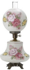 Hurricane lamp white satin with hand painted Victorian roses