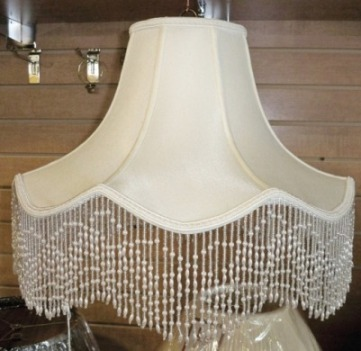 Victorian Lamp Shade Scallop With Beaded Fringe