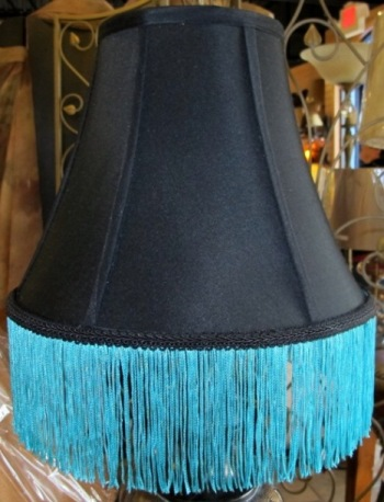 Black lamp shades with gold and white linings black lamp shade with blue fringe close up aloadofball Choice Image