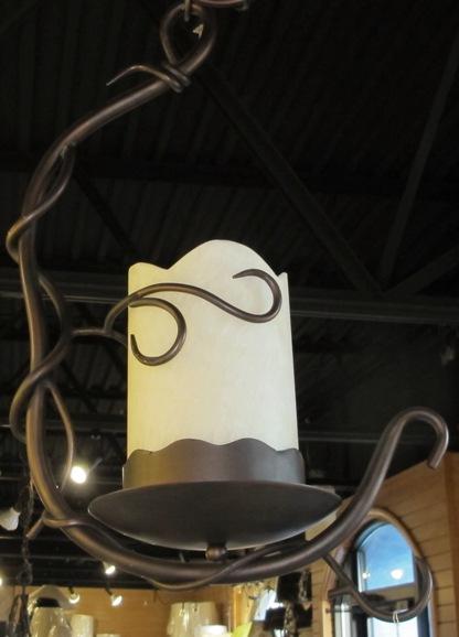 wrought iron onyx stone bronze pendant light