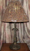 Bronze lamp with country style pinecone shade