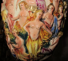 Capodimonte lamp with hand painted nude maidens in high relief