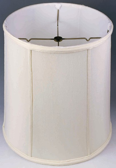 1 White Left Drum Shade Clic Tall Style With Vertical Piping