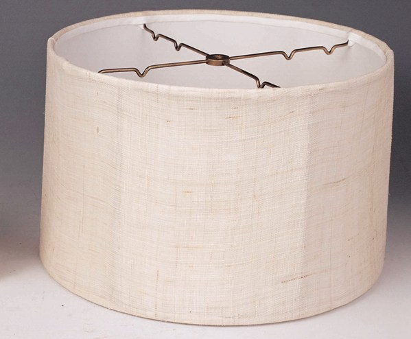 Short drum lamp shades drum shade linen with brown flecks aloadofball Choice Image