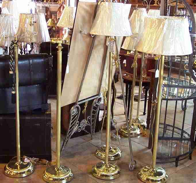 Brass Floor Lamps Swing Arm Glass Tray Goose Neck