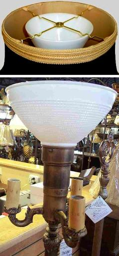 Floor lamp shade sits on white glass reflector bowl