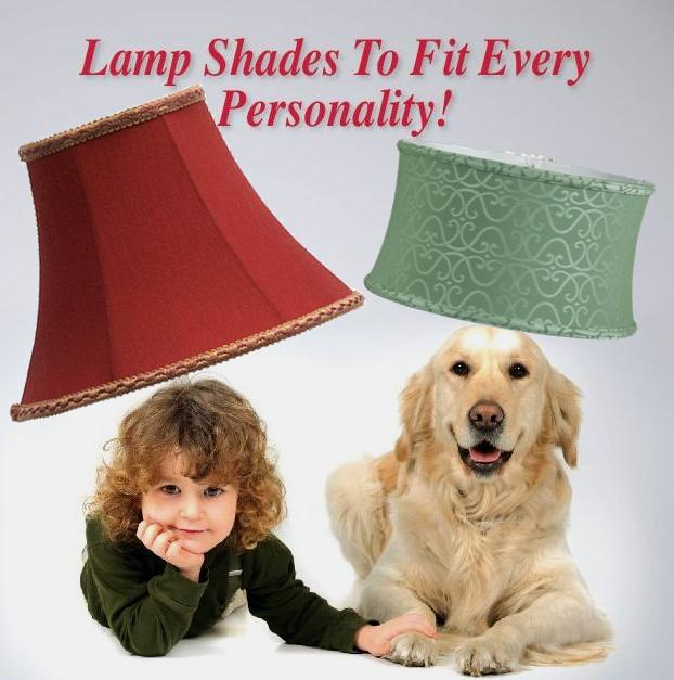 Boy and dog with lamp shades on their heads