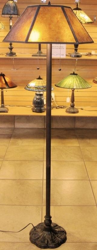 Mica floor lamps fine quality custom designs mica floor lamp hexagon shade aloadofball Gallery