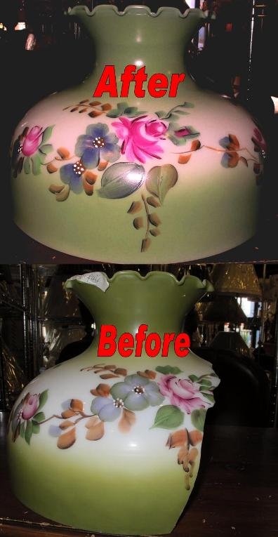 Replacement glass lamp shades hand painting to match your base original and copy glass shade replacement and hand painting hurricane aloadofball Images