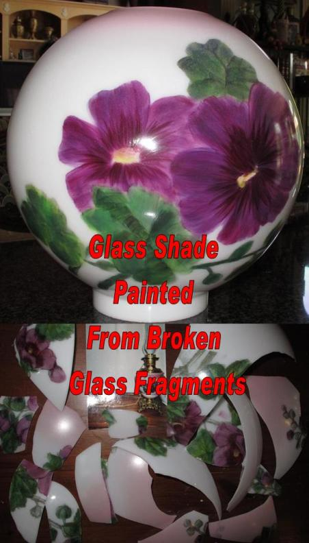 Replacement Glass Lamp Shades Hand Painting To Match