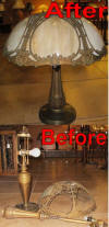 Slag lamp and shade repair before and after