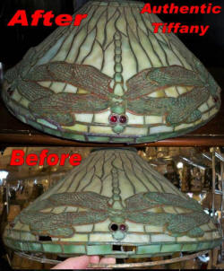 Tiffany lamp repair example, authentic Louis Comfort Tiffany Clara Driscoll design before and after repair