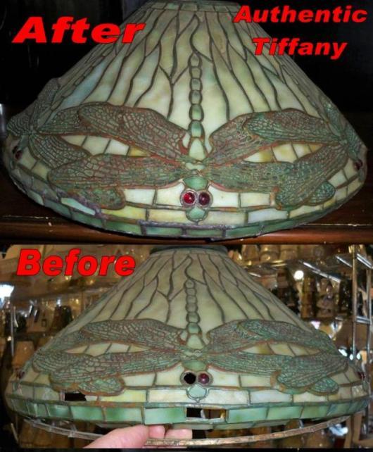 Tiffany lamp repair and tiffany shade repair tiffany lamp repair example authentic louis comfort tiffany clara driscoll design before and after repair aloadofball Choice Image