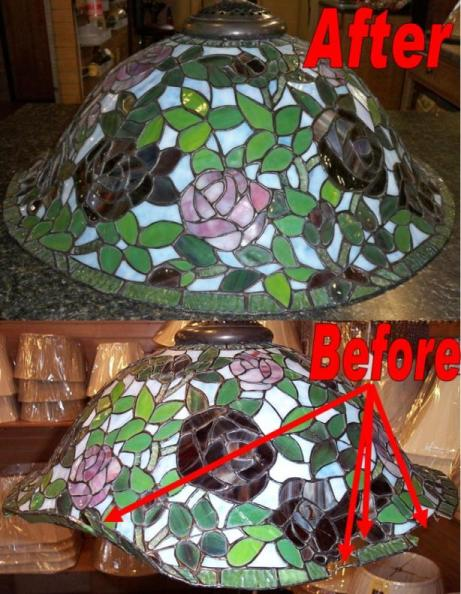Tiffany lamp repair and tiffany shade repair tiffany shade repair nearly destroyed with scores of glass pieces broken and dislodged tiffany lamp repair mozeypictures Image collections