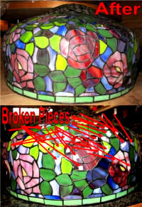 Tiffany shade repair, dozens of glass pieces were replaced