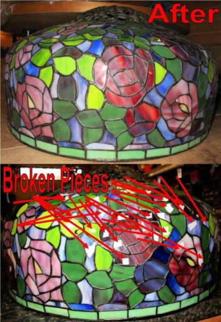 Tiffany lamp repair and tiffany shade repair tiffany shade repair dozens of glass pieces were replaced mozeypictures Image collections