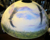 "Reverse painted lamp, 18"" glass shade with eagles soaring"