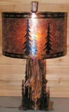 Rare 1 Of A Kind Custom Rustic Table Lamp Deer Elk Trees Cedar Base Has Hand Carved Feathers 27H X 17W Metal Art Mica Shade Southwestern Borders