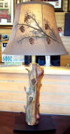 Wood lamp made of aged cedar sapling tree