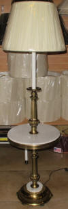 Stiffel lamp with marble tray table