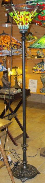 Tiffany floor lamp torchiere with dragonfly shade