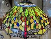 "Tiffany floor lamp with 18"" dragonflies shade"