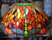 Tiffany floor lamp red and green dragonflies