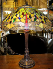 Tiffany lamp with vivid dragonflies
