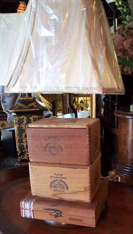Black Paper Shade, Cigar Box Lamp