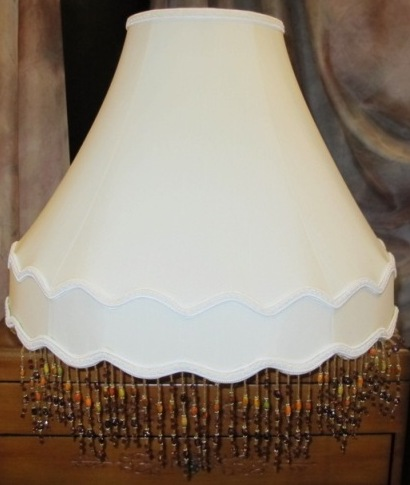 Victorian lamp shade with amber beaded fringe trim