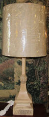 Wood lamp with burlap shade